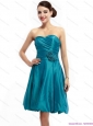 Elegant Ruching Sweetheart Prom Dresses with Hand Made Flowers
