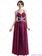 Elegant Sequins Halter Top Ruching and Beading Prom Dresses in Wine Red