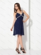 Elegant Sequins Ruffled Navy Blue Perfect Prom Dresses for 2015