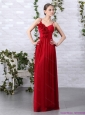 Elegant Spaghetti Straps Long Prom Dresses with Ruching and Hand Made Flowers
