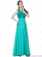 Elegant Turquoise One Shoulder Prom Dresses with Ruching and Hand Made Flowers