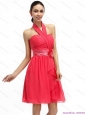 Halter Top Prom Dresses with Ruching and Hand Made Flowers