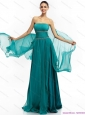 Modest 2015 Inexpensive Strapless Prom Dress with Ruching and Beading