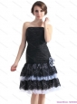 Modest Black Short Prom Dresses with Ruching and Hand Made Flower