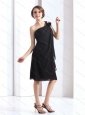 Modest One Shoulder Black Prom Dresses with Hand Made Flower