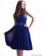 Navy Blue Halter Top Prom Dresses with Sash and Ruffles