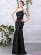 Popular 2015 One Shoulder Black Prom Dress with Beading