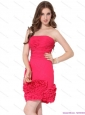 Popular Strapless Mini Length Prom Dresses with Ruching