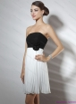 Strapless Ruching and Hand Made Flower Prom Dresses in White and Black