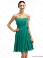 Strapless Ruching and Sash 2015 Short Prom Dresses in Turquosie