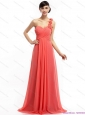 Watermelon Red One Shoulder Prom Dresses with Brush Train and Hand Made Flowers