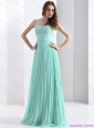 2015 Brush Train Apple Green Christmas Party Dress with Beading and Pleats
