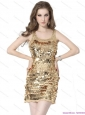 2015 Classical Scoop Mini Length Christmas Party Dress with Sequins