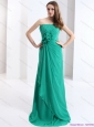 2015 New Style Strapless Christmas Party Dress with Hand Made Flowers and Ruching