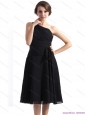 2015 One Shoulder Knee Length Christmas Party Dress in Black