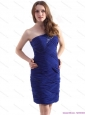 2015 One Shoulder Mini Length Christmas Party Dress with Beading and Ruching