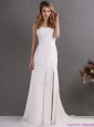 Affordable Ruching and High Slit 2015 Prom Dress in White