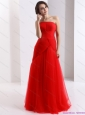 Classical Strapless Floor Length Ruching Christmas Party Dress in Red