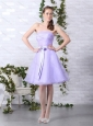 Cute Lilac Strapless Ruching Mini Length Prom Dresses with Bownot