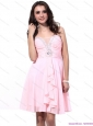 Fashional Baby Pink Christmas Party Dresses with Beading and Ruching