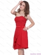 Latest Strapless Short Red 2015 Prom Dress with Ruching