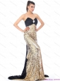 Luxurious Brush Train 2015 Christmas Party Dress with Ruching and Sequins
