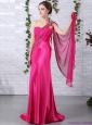 Modest 2015 One Shoulder Fuchsia Prom Dress with Beading and Ruching