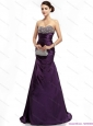 Modest 2015 Romantic Brush Train Prom Dress with Ruching and Beading