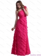One Shoulder Christmas Party Prom Dresses with Ruffled Layers and Hand Made Flower