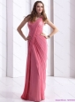 One Shoulder Coral Red Christmas Party Dresses with Appliques and Ruching