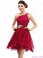 One Shoulder Ruching Mini Length Christmas Party Dresses with Beading