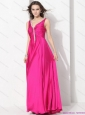 Perfect Hot Pink Long Prom Dresses with Beading and Ruching