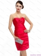 Red Strapless 2015 Christmas Party Dresses with Ruching and Beading