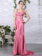 Rose Pink Beading Long Prom Dresses with Brush Train