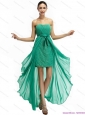 Turquoise High Low Beading Prom Dresses with Ruching and Bowknot