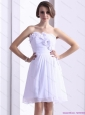 White Strapless Prom Dresses with Ruching and Hand Made Flower