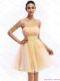 2015 Beautiful Strapless Multi Color Christmas Party Dress with Beading and Ruching