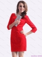 New Style Red Mini Length 2015 Christmas Party Dress with Lace