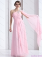 Perfect 2015 One Shoulder Baby Pink Christmas Party Dress with Ruching and Beading