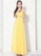 2015 Floor Length Plus Size Prom Dresses with Ruching and Beading