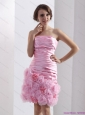 2015 Lovely Strapless Ruching Mini Length Plus Size Prom Dress in Baby Pink