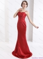 Exclusive Brush Train 2015 Red Plus Size Prom Dress with Beading and Ruching