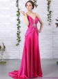Exquisite Brush Train 2015 Plus Size Prom Dress with Ruching and Beading