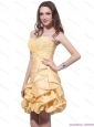 Gold Mini Length Plus Size Prom Dresses with Beading and Pick Ups