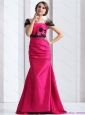 Luxurious 2015 Plus Size Prom Dress with  Brush Train and Hand Made Flowers