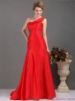 One Shoulder Pleated Red Plus Size Prom Dresses with Brush Train