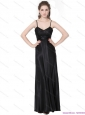 2015 Dynamic Spaghetti Straps Ruching Plus Size Prom Dress in Black