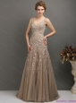 2015 Feminine Empire Plus Size Prom Dress with Brush Train and Appliques