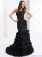 Brush Train Pleated Black Plus Size Prom Dresses with One Shoulder and Ruffled Layers