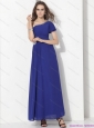 Modest One Shoulder Blue Plus Size Prom Dress with Ruching and Beading